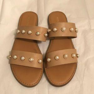 Merona Pearl double strap slide sandals